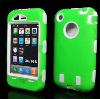 Silicone Rubber Hard Case Cover Skin Shape For IPHONE 3G 3GS S Green