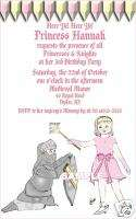 Personalized Knight Princess Birthday Party Invitations