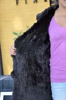 55411 New Brown Knit Rex Rabbit Fur Stroller Coat S
