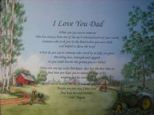 LOVE YOU DAD PERSONALIZED POEM JOHN DEERE DECOR GIFT