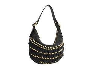 Johnson Small Hobo Purse Hand Bag FRILLY Black Leather Gold Studs NWT