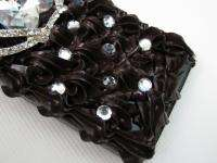 3D Chocolate Cake Bling Crown Crystal Case Cover for iPhone 4 4S Black