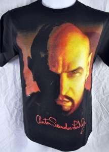Anton LaVey Mens Shirt Satanic Bible Evil Black Magic