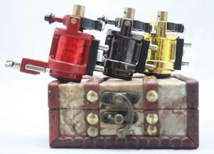 pc new version Rotary Tattoo Machine Gun wood box kit
