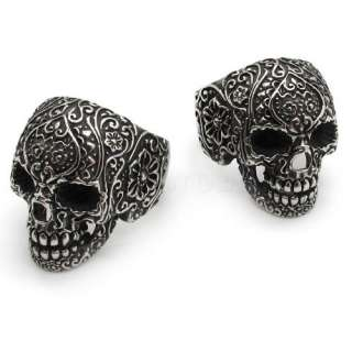2PCS pair couple Mens gothic poker skull stainless steel flower party