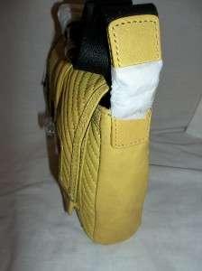 Gwen S. Saratoga Leather Flap Shoulder Crossbody Bag Yellow $