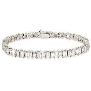 925 Silver 11ct Cubic Zirconia Emerald cut Tennis Bracelet