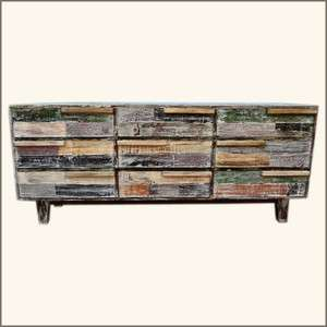 Patch Quilt Distressed Rustic Reclaimed Wood Vanity Dresser with 9