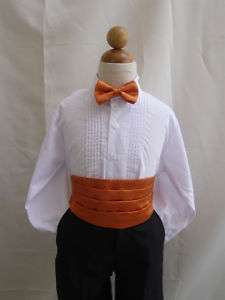 NEW ORANGE CUMMERBUND & BOW TIE FOR BOY TUXEDO SUIT