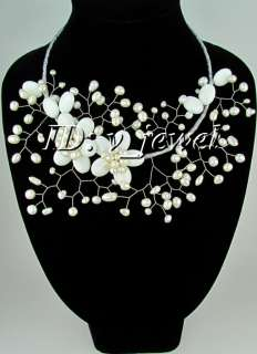 White agate pearl flower necklace/earring set VJ