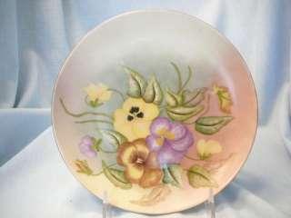 VTG Hand Painted Plate Pansies HR Bavaria Signed