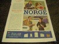 1944 Antique Norge Refrigerator & Appliance Color Ad