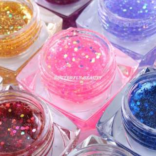 12 color glitter uv gel nail art with uv lamp gel R301