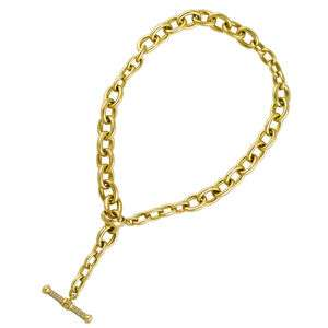 KIESELSTEIN 18K Gold Diamond Toggle Link Necklace 191 grams