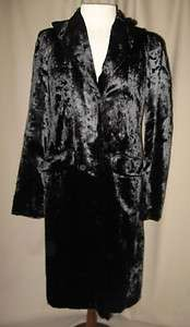 MAX STUDIO Soft Shiny Faux Black Fur Long Coat Sz 2