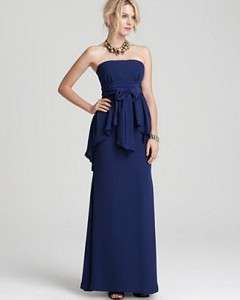 Max Azria RUELLA STRAPLESS LONG TIERED DRESS Gown Blue US 6/8