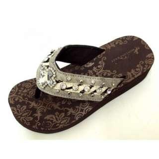 Gray Western Rhinestone Cross Bling Flip Flops Sandals