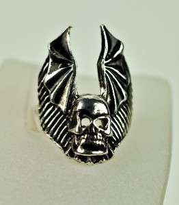 BAT WING SKULL RING BLACK DEATH GOTHIC METAL BIKER TATTOO INK