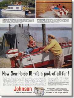 1958 Johnson Motor   Arkansas Traveler Boat Print Ad