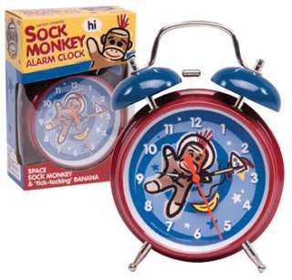 Sock Monkey Alarm Clock Schylling Space Classic Kids Analog Twin Bell