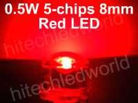 20p 5mm 0.5W 6 Chips White Flux LED LAMP LIGHT 55Kmcd