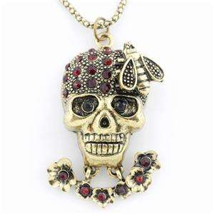 COOL Gold tone RED Crystal Flower/Bee/Skull Pendant NECKLACE