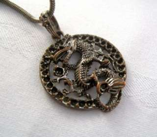 Vintage Necklace Pendant Unique Medieval Dragon