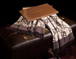 NEW AUTHENTIC GUCCI THROW WOOL / CASHMERE BLANKET BROWN
