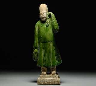 Chinese Ming Dynasty Glazed Terracotta Attendant Statue Figure