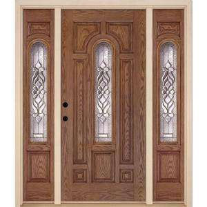 Feather River Doors Lakewood 36 in. x 80 in. Medium Oak Prehung Right