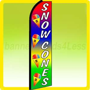 Feather Swooper Flutter Tall Banner Sign Flag   SNOW CONES rainbow q