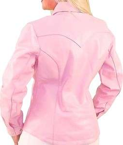 PINK LEATHER Form Fitted WESTERN CUT Dress Shirt RIDING JACKET
