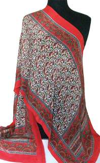 Hand Printed, Silk Scarf. 65 x 20 Inches. Red