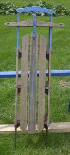 VINTAGE Wooden Snow Toboggan FLYER Sled GREAT