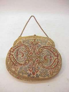 ANTIQUE VINTAGE PETIT POINT PURSE HANDBAG~CHERUBS FRAME