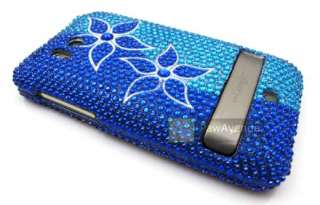 BLUE FLOWERS Diamond Bling Cover Case HTC Thunderbolt