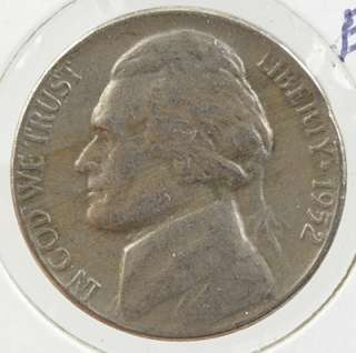 1952 JEFFERSON NICKEL 2:00 POSITION CLIPPED PLANCHET MINT ERROR COIN