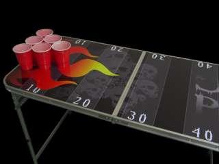Flaming Skulls Beer Pong Table   8ft