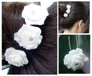 6PCS WEDDING BRIDAL WHITE ROSE CRYSTAL HAIR PINS PROM