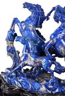 23.6 Lapis Lazuli eight horses Sculpture/Carving #Q94