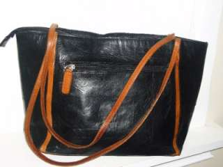 etienne aigner distressed black british tan leather tote shoulder bag