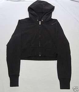 Womens Girls Levis Hoodie Half Waist Shirt Jacket Black Large L