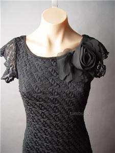 Crochet Lace Vtg y Retro 60s Cocktail Party Evening Sheath Dress S