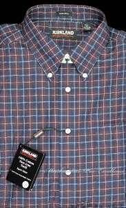 KIRKLAND Mens 100% Cotton SHIRT non IRON Burgundy Blue Check NEW Size