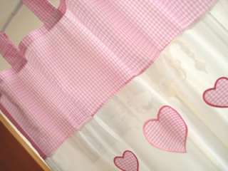 Piece Love Heart Embroidery PINK Gingham Curtain LONG