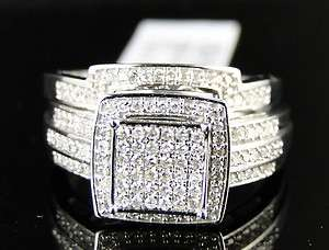 10K LADIES WHITE GOLD ROUND CUT DIAMOND BRIDAL ENGAGEMENT WEDDING RING