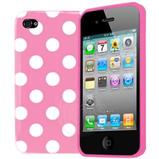 Pink Polka Dots Gel Case For Apple iPhone 4S 4 S 4g 8GB 16GB 32GB 64GB