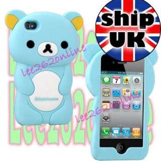 Cute Soft Silicone 3D Rilakkuma Bear Rubber Case Cover For iPhone 4 4S