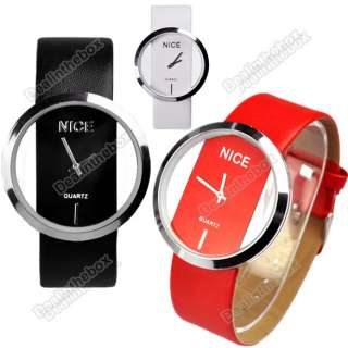 Fashion Cool Women PU Leather Transparent Dial Lady Wrist Watch