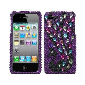 Pink Purple Black Peacock Bling Rhinestone Diamond Crystal